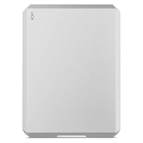 LaCie MOBILE DRIVE Moon, tragbare externe Festplatte 2 TB, 2.5 Zoll, USB-C, Mac & PC, silber, inkl. 2 Jahre Rescue Service, Modellnr.: STHG2000400