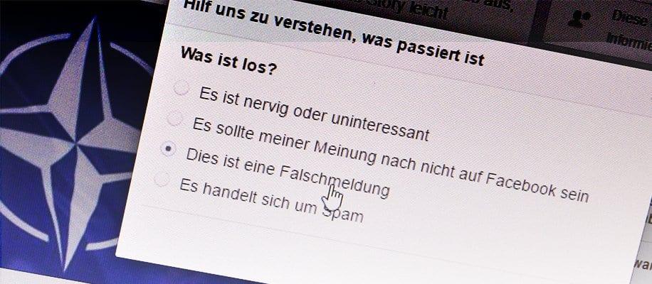 Facebook Meldung: Hilf uns zu verstehen was passiert ist. Auswahl: Dies ist eine Falschmeldung.