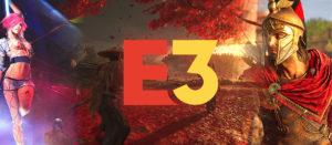 Ausschnitte aus Spielen der E3 von links nach rechts: Cyberpunkt, Ghost of Tsushima und Assassins's Creed Odyssey