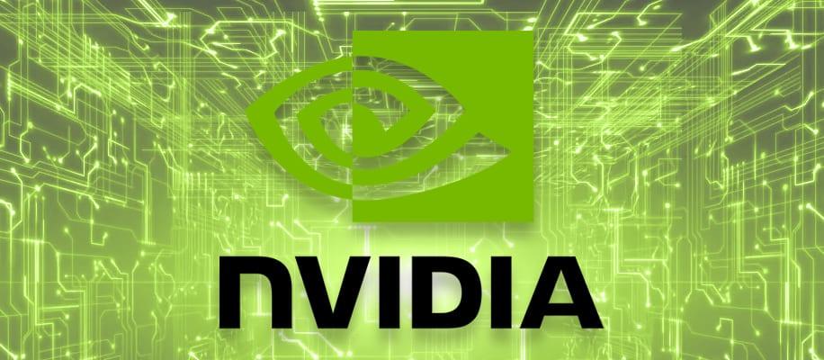 NVIDIA Logo vor digitalem Hintergrund